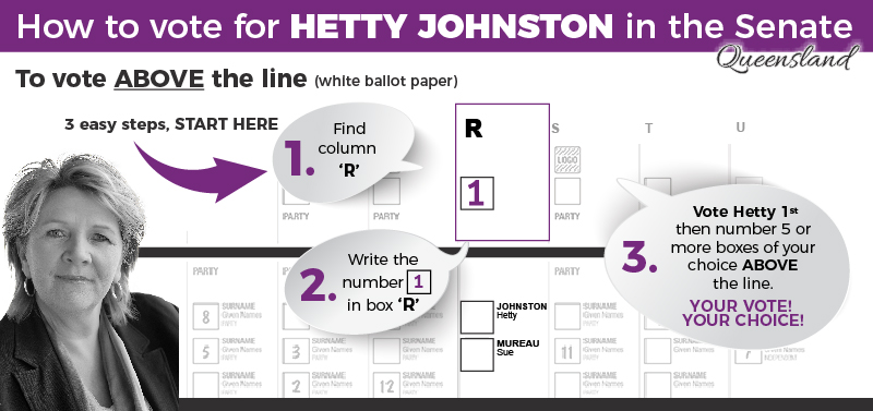 Vote 1 Hetty Johnston - Running for the Senate as an Independent